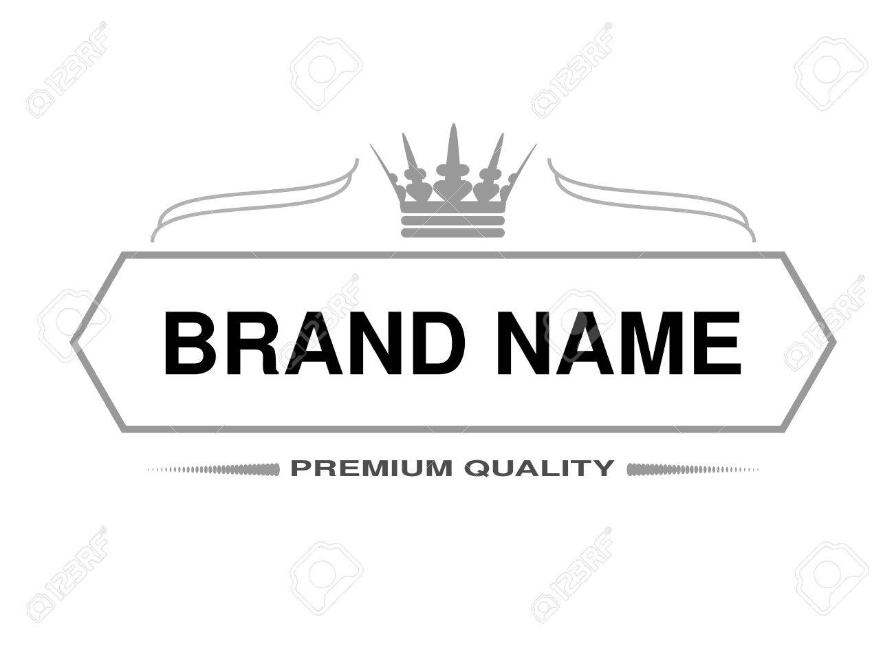 Vector Line Label Rectangle Frame For Brand Name With Symbol Of