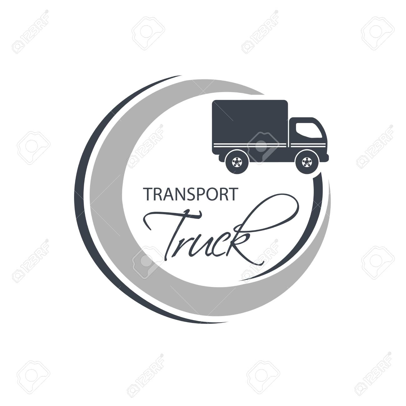 Vector Circular Symbol Of Transport With Silhouette Of Truck