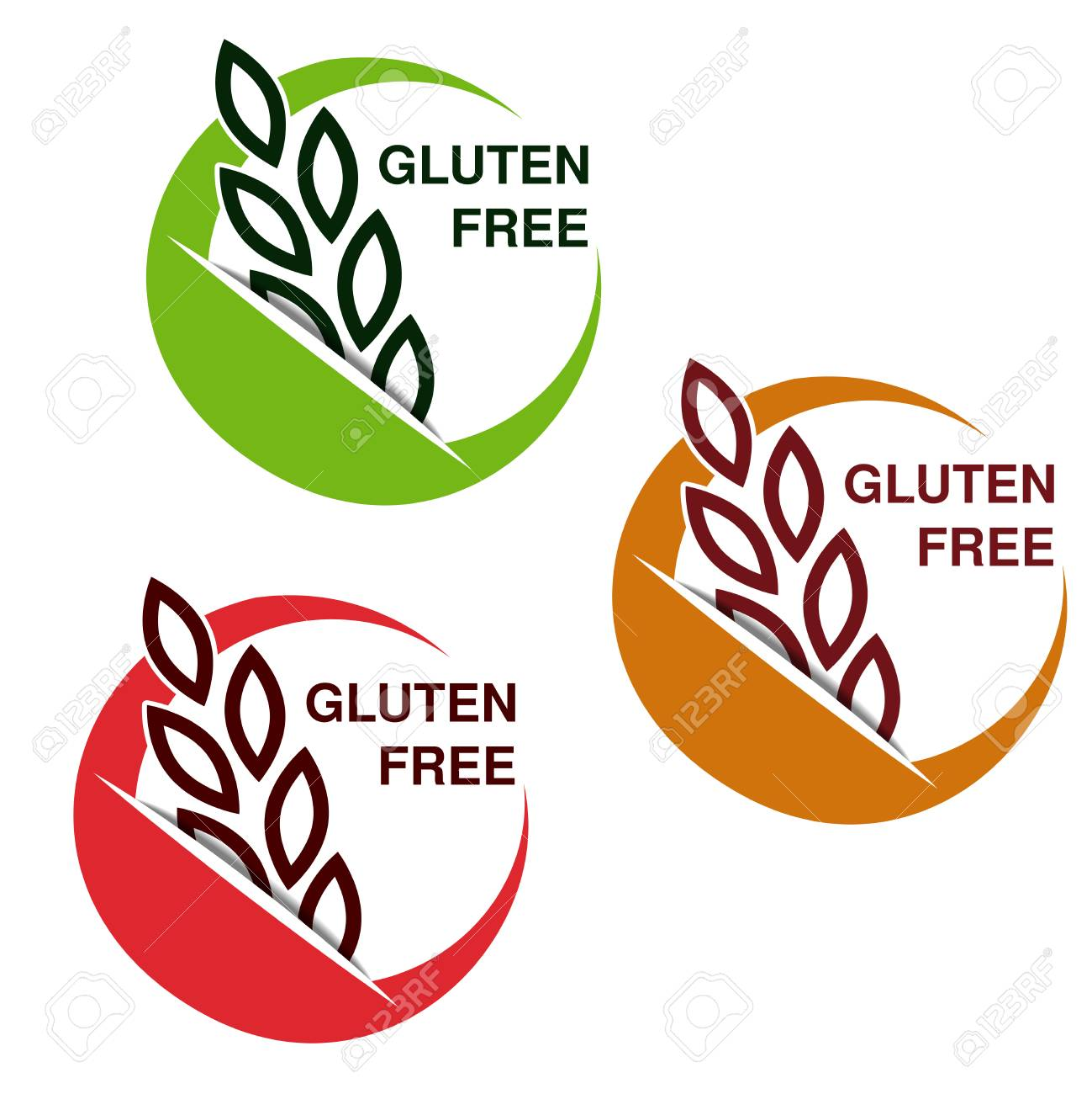 Vector gluten free symbols isolated on white background circular vector gluten free symbols isolated on white background circular stickers with spikelet illustration biocorpaavc Images