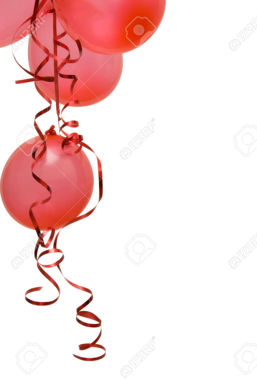 red party balloons decorated with ribbons isolated on white Stock Photo - 2158029