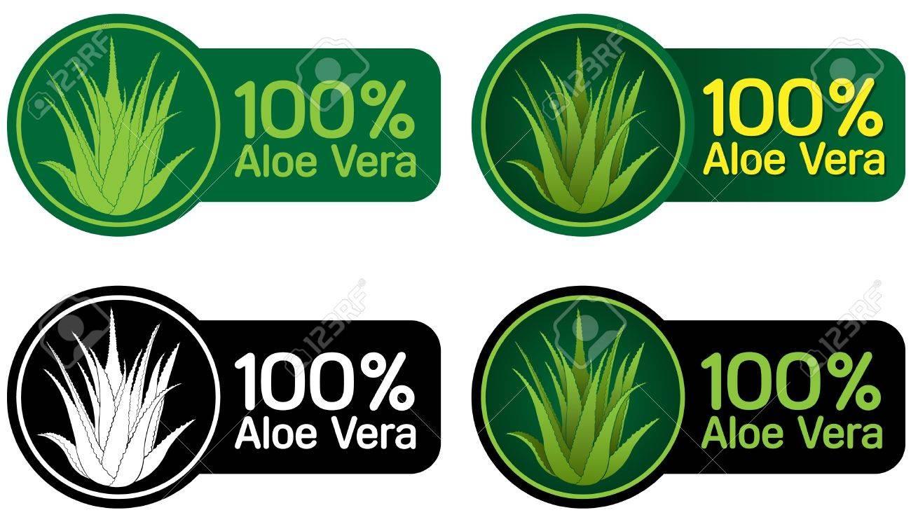100% Aloe Vera Seals, Stickers Stock Vector - 9674547
