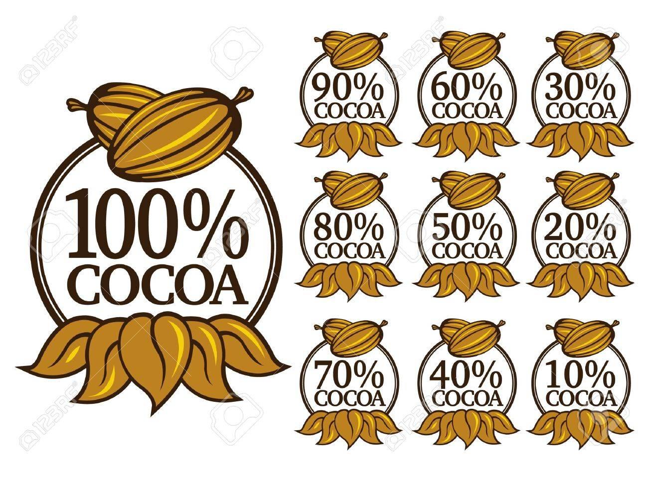 Percent Cocoa Seal / Mark / Icon. English Version Stock Vector - 9674524