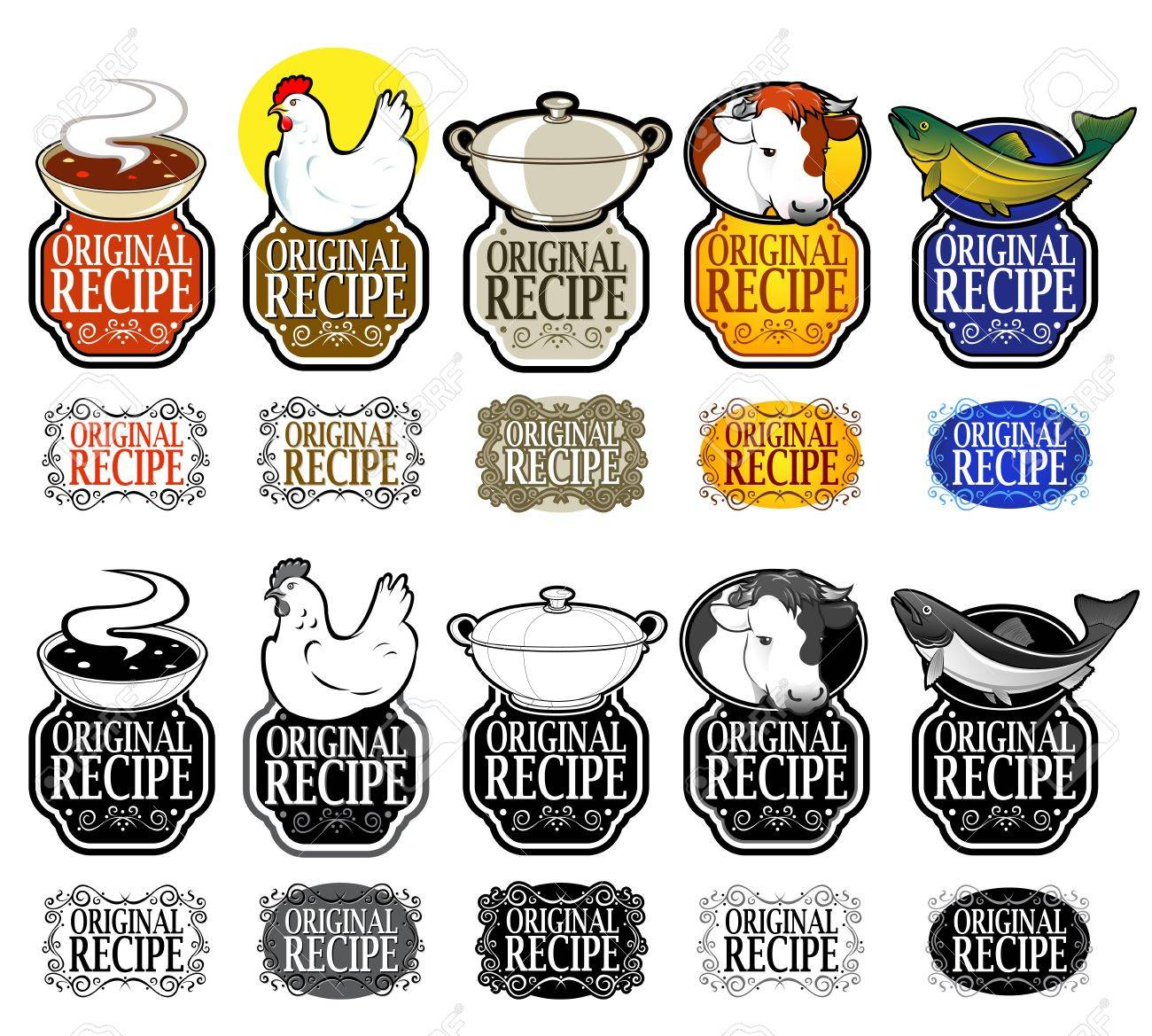Original Recipe Full Vertical Collection in Color and Black & White Stock Vector - 9674580