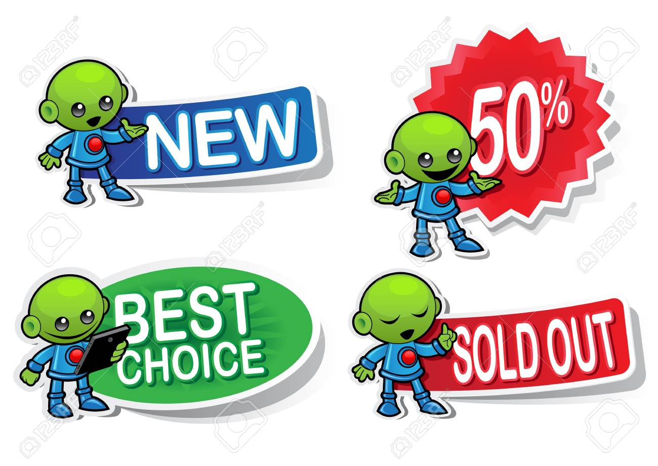Alien Character Selling Stickers Stock Vector - 13731746