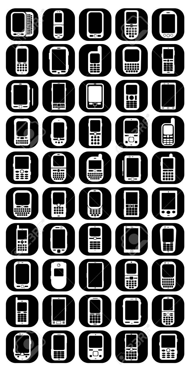 Cellphones & Smartphones Buttons Icons Stock Vector - 13818471