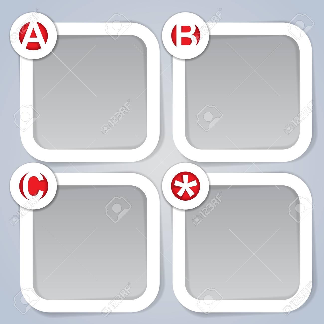 ABC, Square Progress vector Labels in white Stock Vector - 13804408