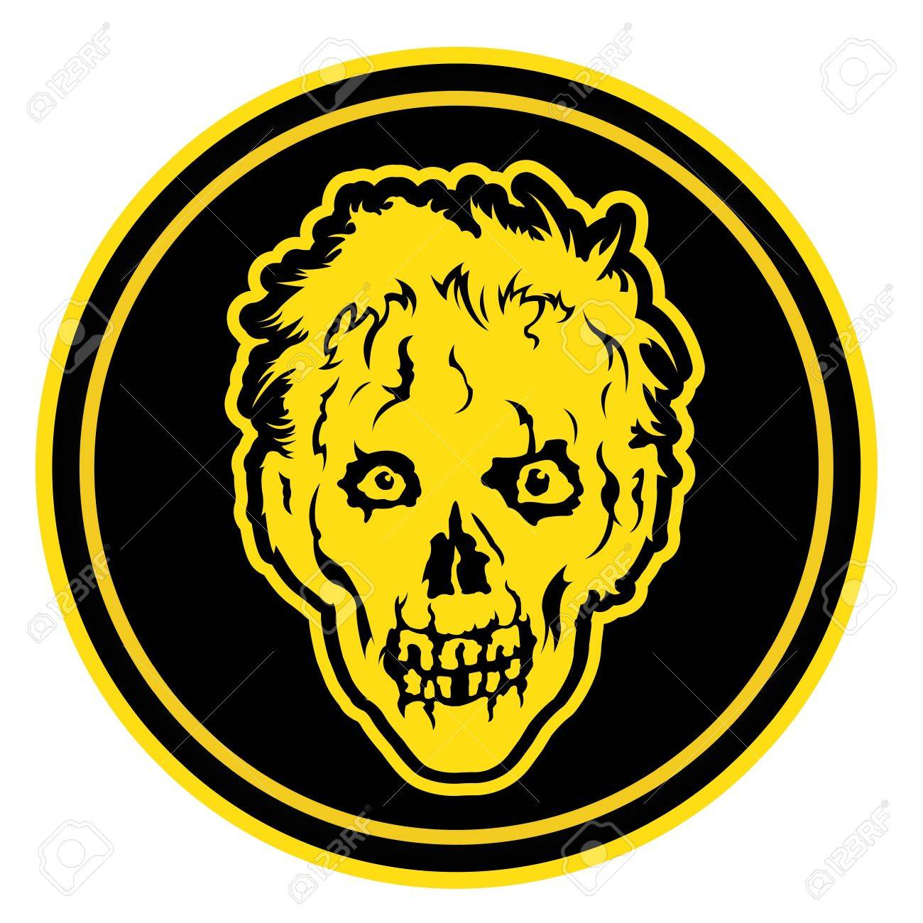 Zombie Face Badge   Seal Stock Vector - 15379595