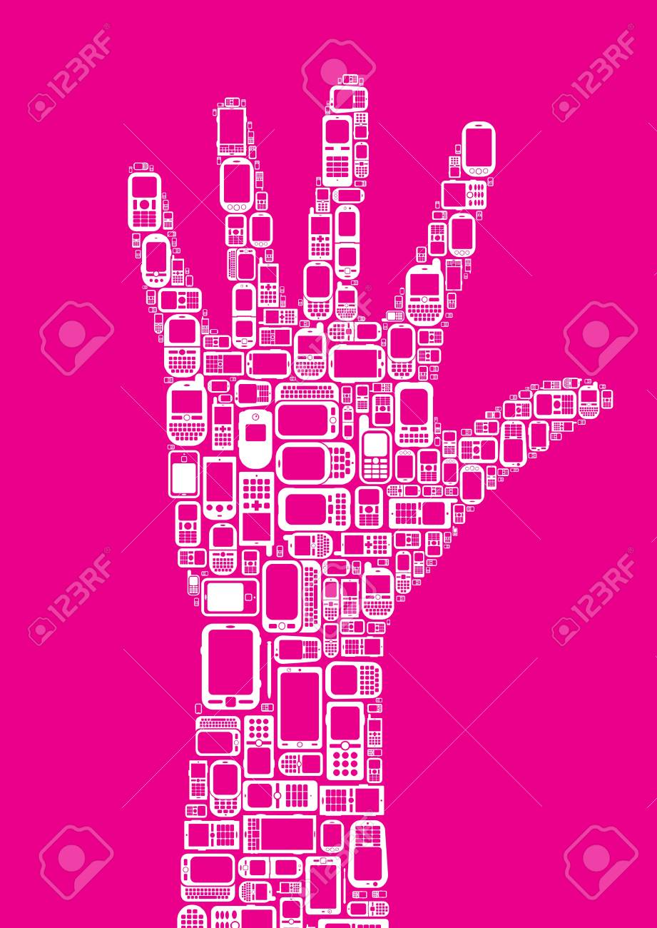 Silhouette of hand made with Cellphones and Smartphones in magenta background Stock Vector - 15977326