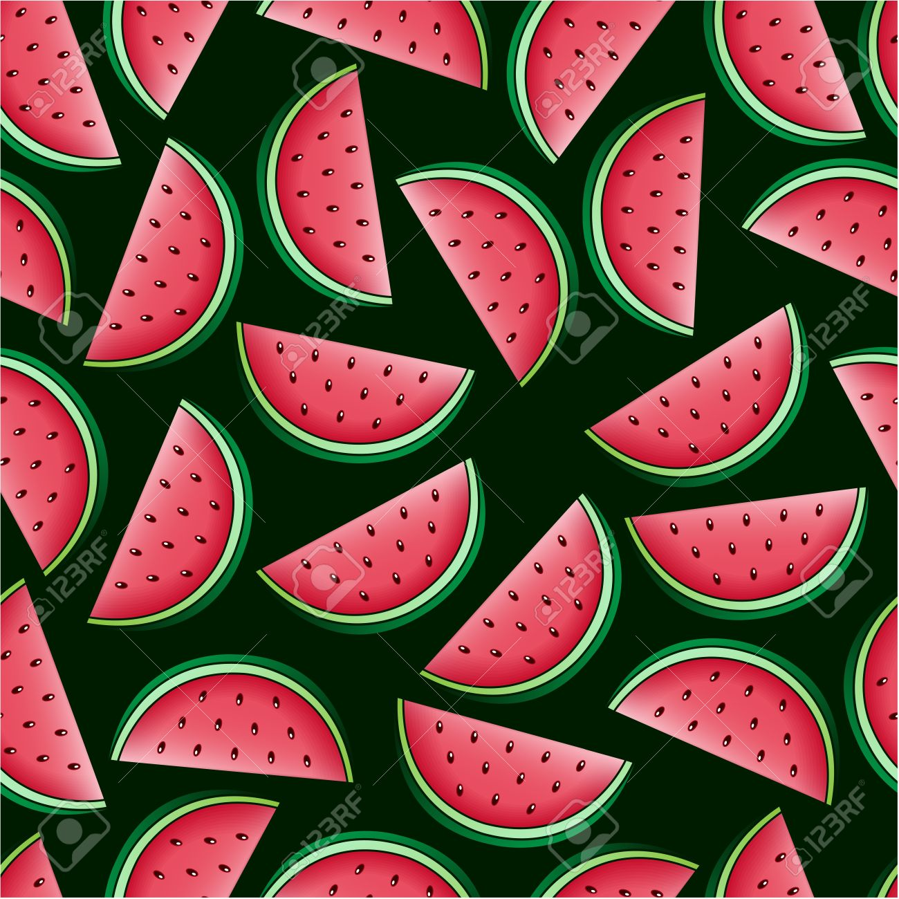 Watermelon Seamless Pattern Stock Vector