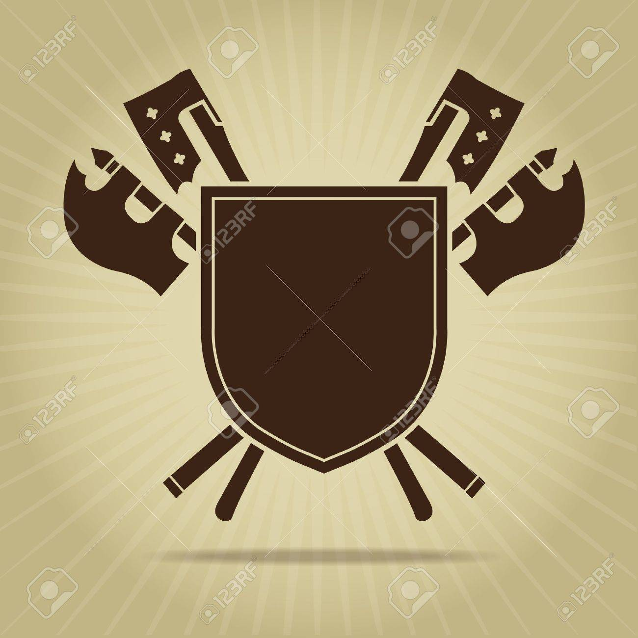 Blank Vintage Shield with Crossed Axes Stock Vector - 18051187