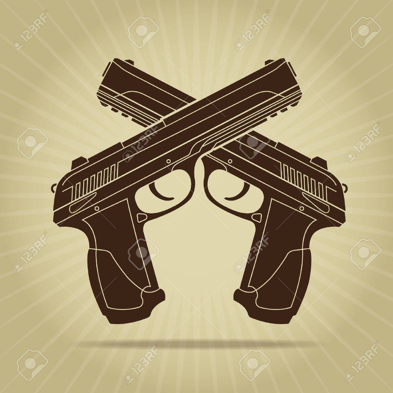 Retro Styled Crossed Pistols Silhouette Stock Vector - 18095702