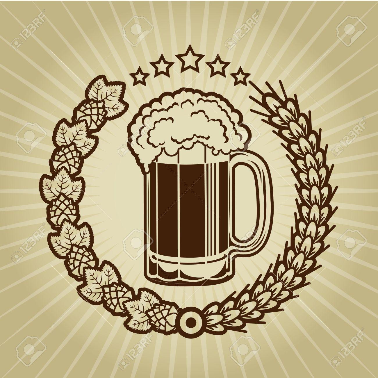 Vintage Beer Mug Seal Stock Vector - 18357387