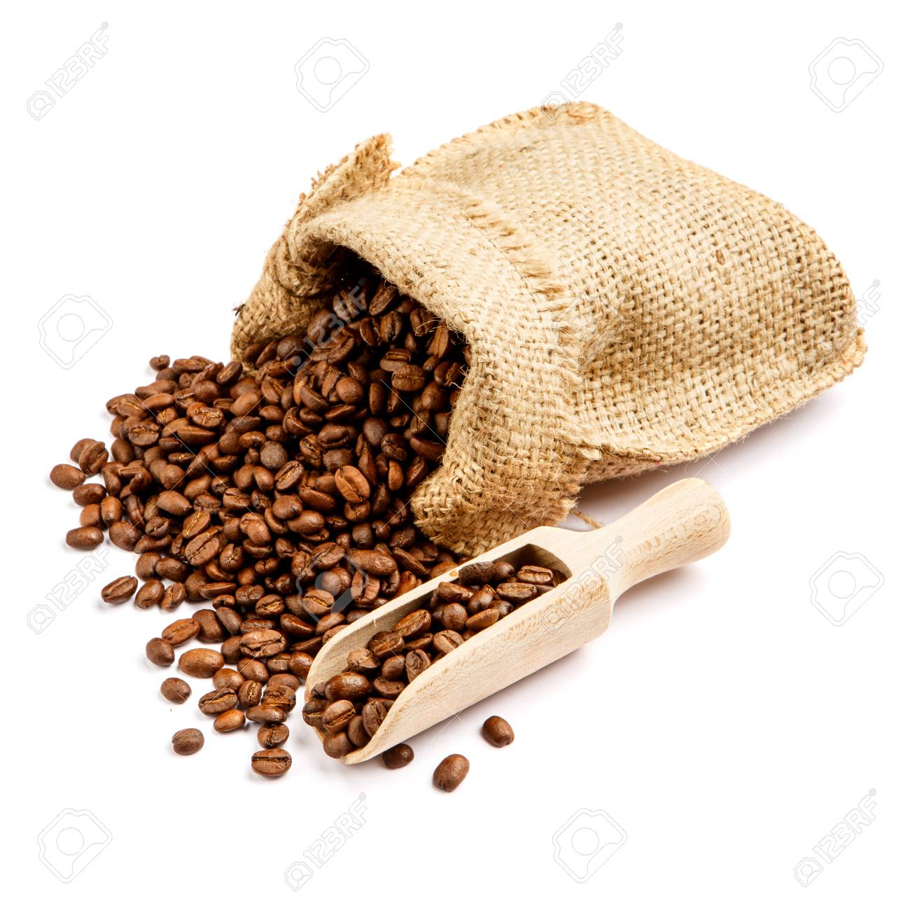 roasted coffee beans in bag isolated on white background cutout - 67990331