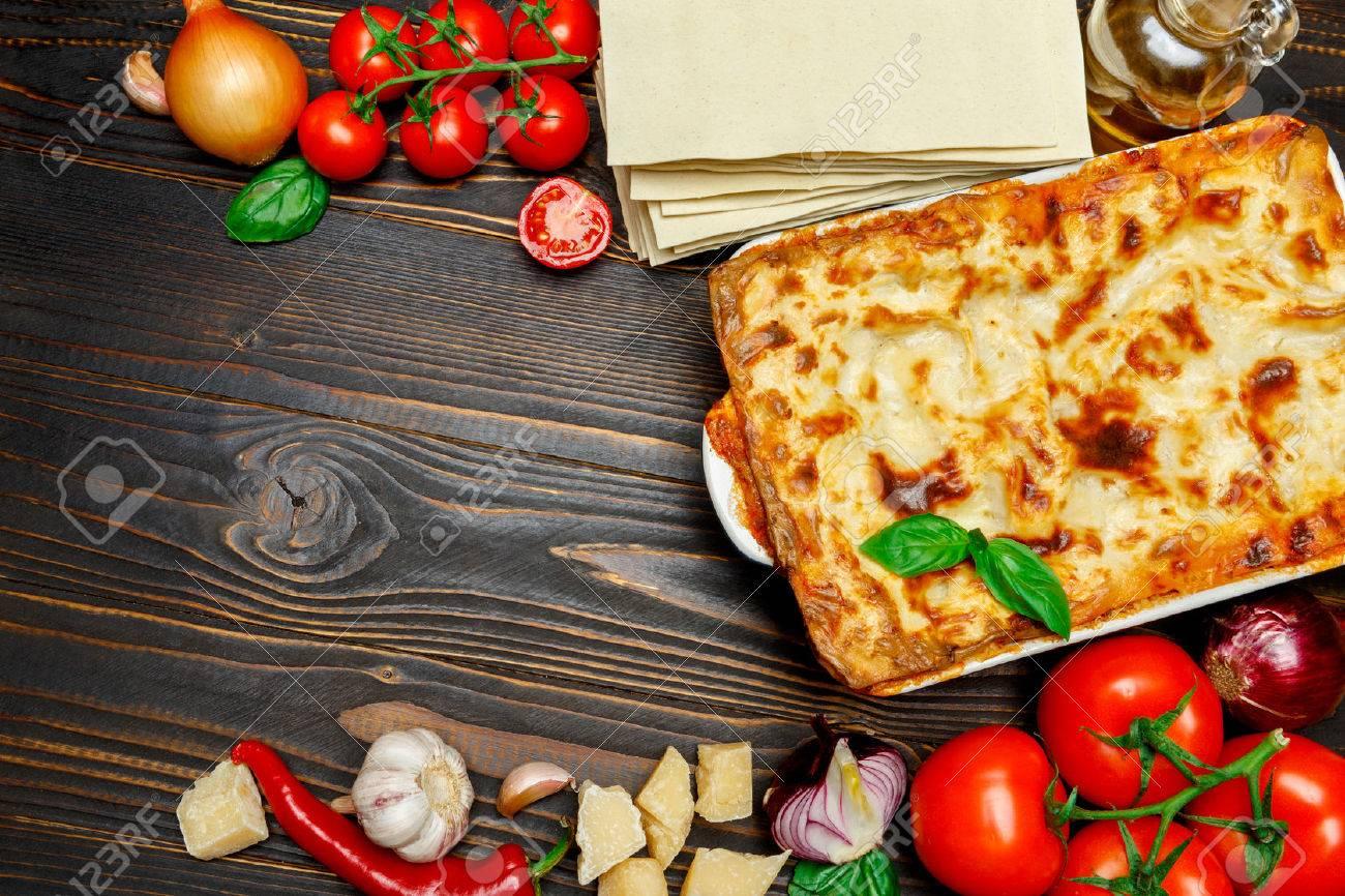 Lasagna in baking dish - 77659232
