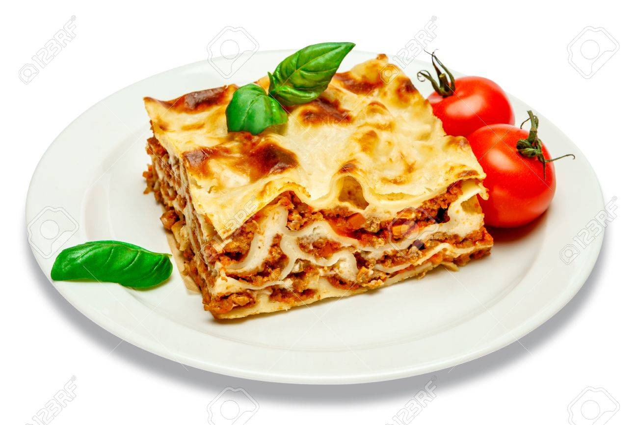 Portion of tasty lasagna isolated on white - 77659179