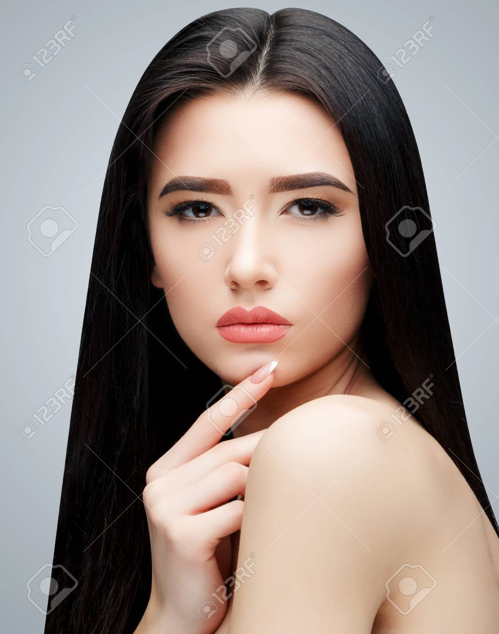 Brunette Asian Girl With Long Straight Hair Stock Photo Picture And