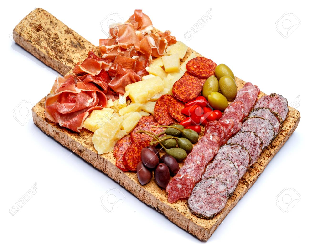 Meat and cheese plate with salami sausage chorizo parma and parmesan cheese Stock Photo  sc 1 st  123RF.com & Meat And Cheese Plate With Salami Sausage Chorizo Parma And ...