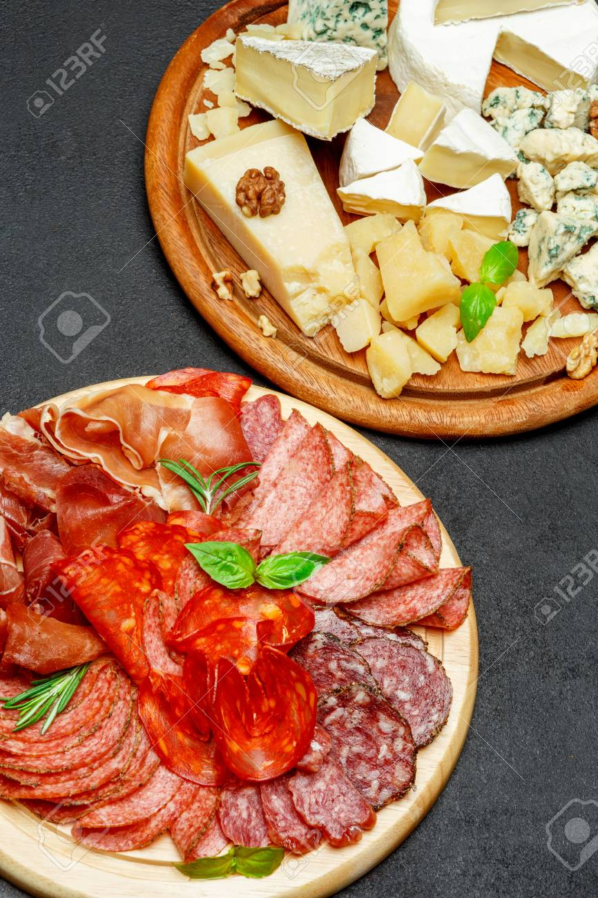Cold meat cheese plate with salami chorizo sausage and various type of cheese Stock Photo - & Cold Meat Cheese Plate With Salami Chorizo Sausage And Various ...