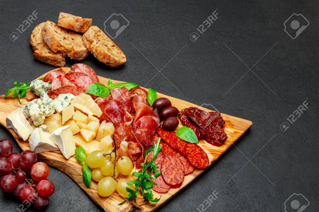 Cold meat cheese plate with salami sausage prosciutto and cheese Stock Photo - 99187934 & Cold Meat Cheese Plate With Salami Sausage Prosciutto And Cheese ...