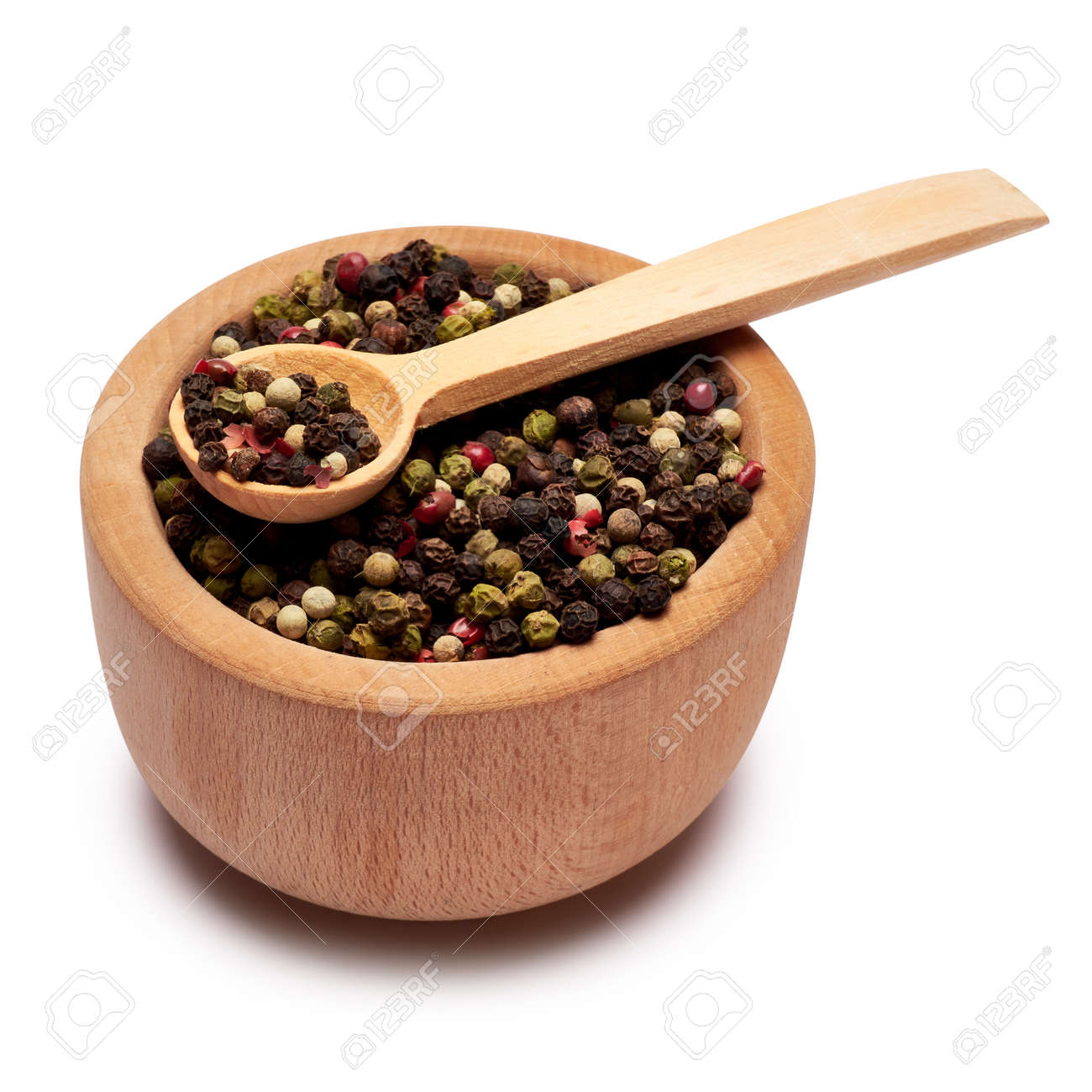black round pepper spice in wooden bowl or mortar on white background - 169835435