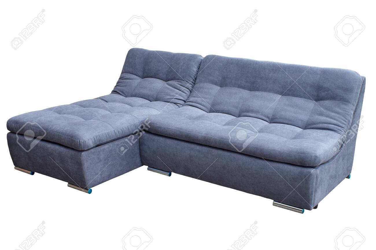 modern guest gray large corner cozy sofa on a white background..