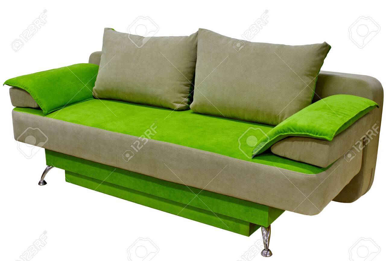 modern cozy fabric sofa two-tone beige and bright green without..