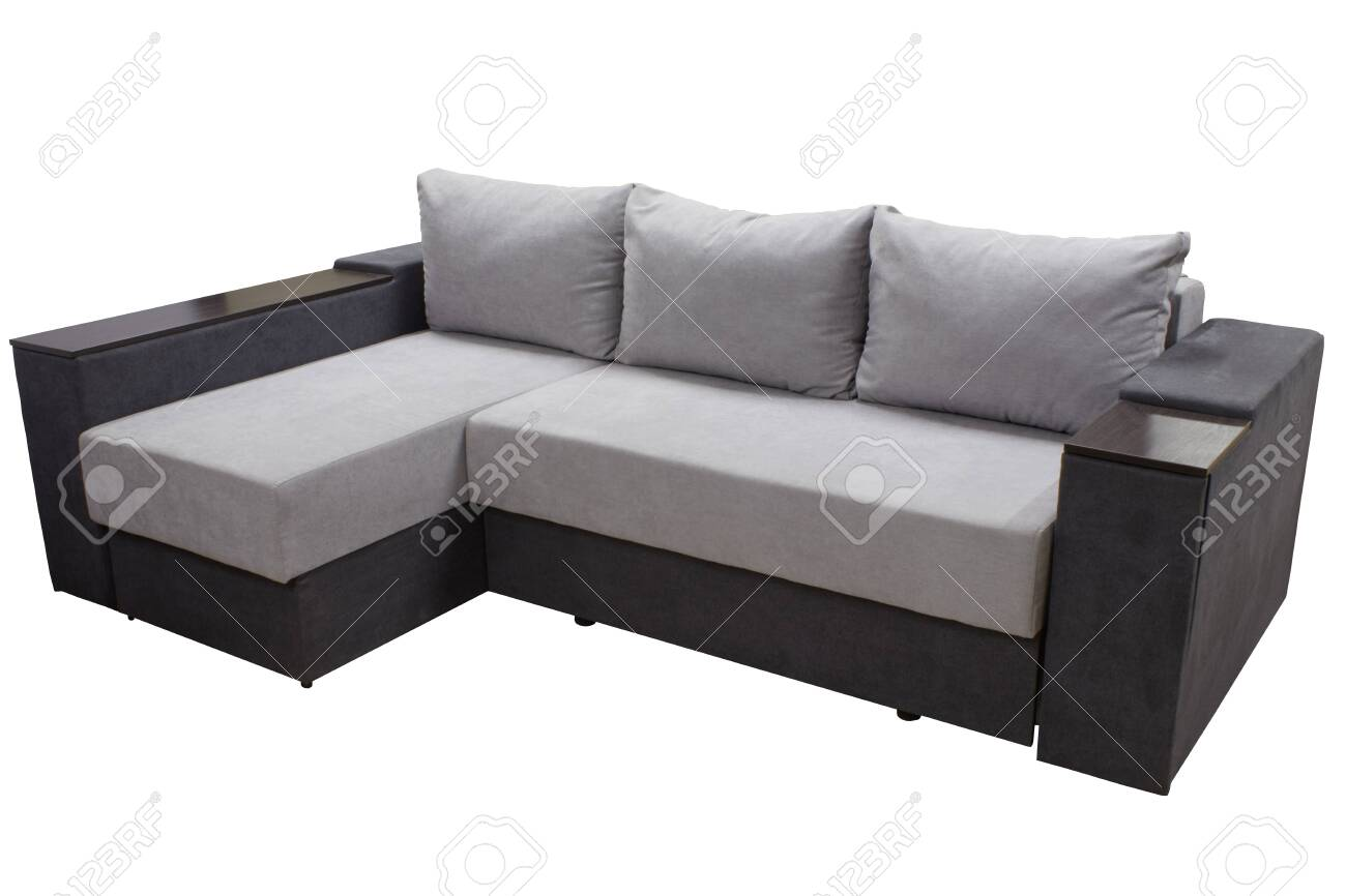 modern stylish two-color corner sofa with pillows on white background