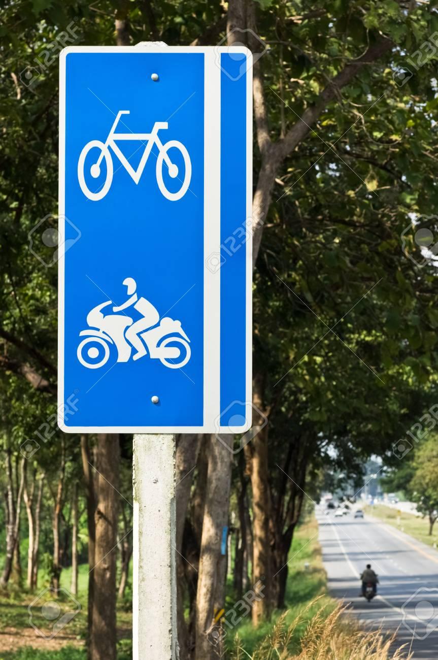 bike and motorcycle lane sign on highwayY DSC Stock Photo - 18557121