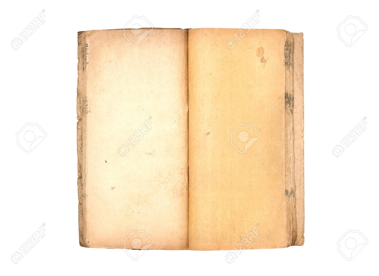 open old book with blank yellow stained pages Isolated on white background Stock Photo - 20239253