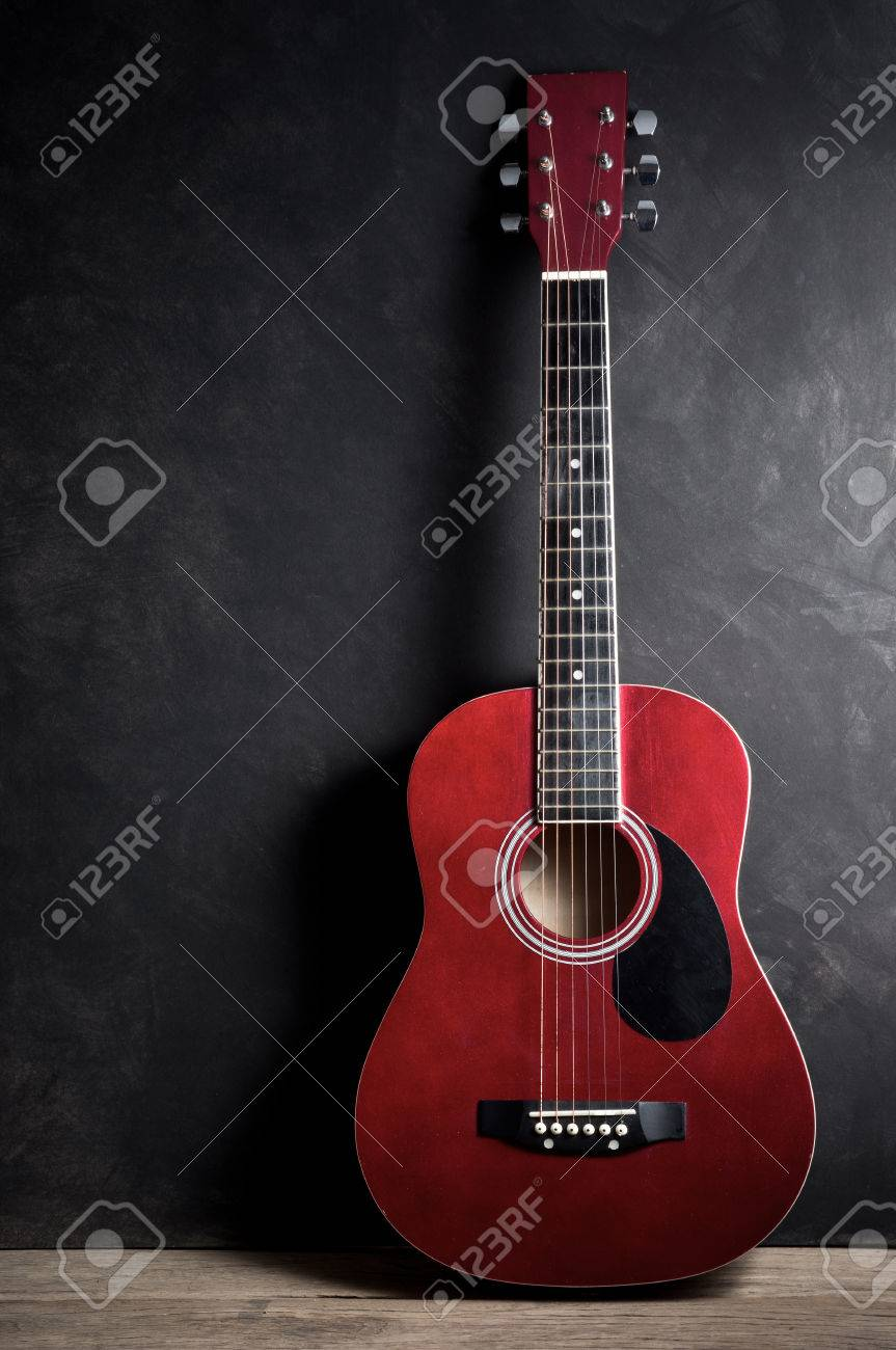 Still Life Photography Old Acoustic Guitar On Dark Background Stock Photo
