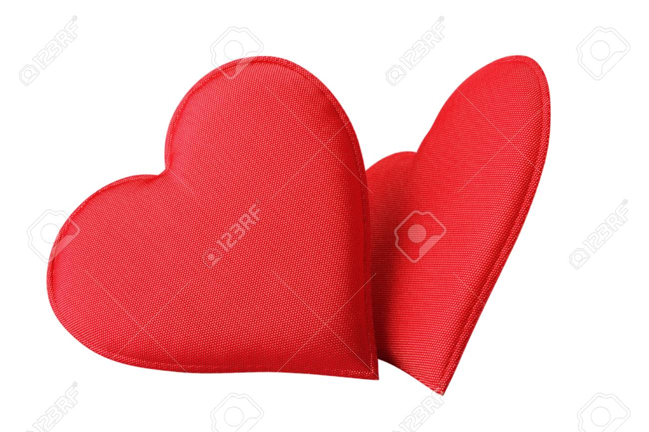A Fabric Red Hearts Isolated On White Background Stock Photo - 11998987