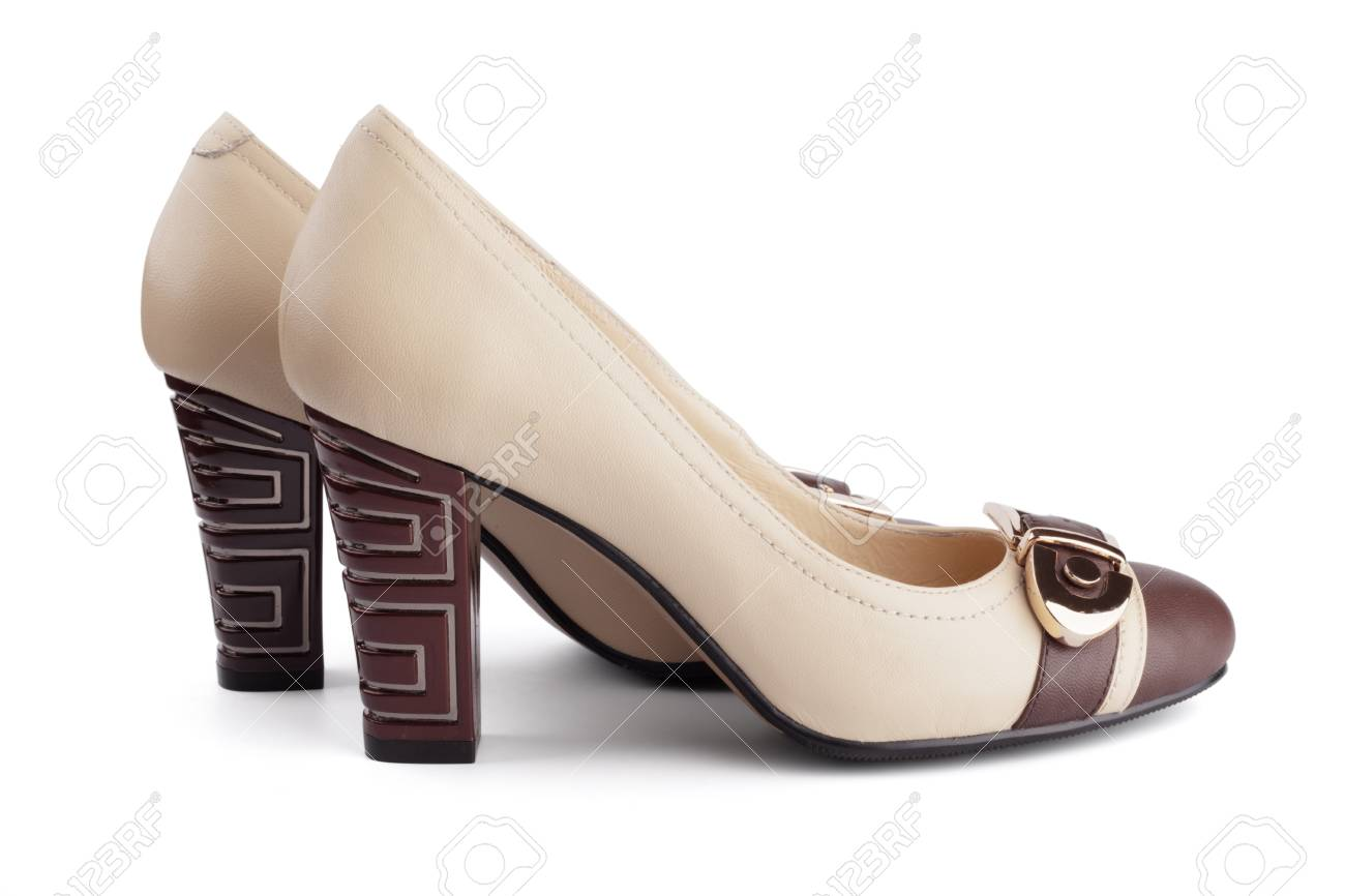 Women's high heels in beige and brown colors isolated Stock Photo - 13675631