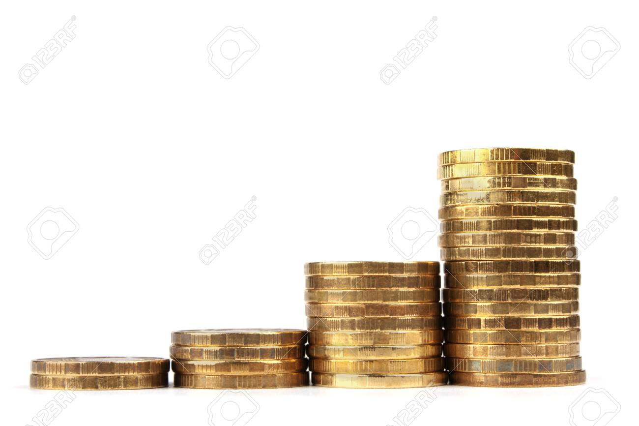 The Stock of Russian Coins on White Background Stock Photo - 13675600