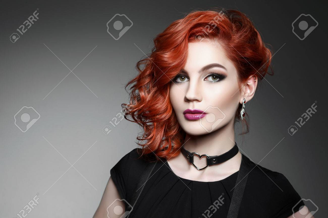 Black dress hairstyle - Red Hair Black Dress