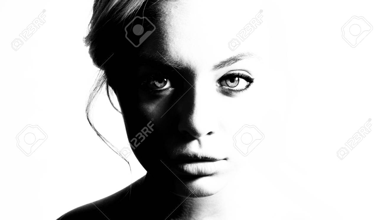 High contrast black and white portrait of a beautiful girl stock photo 91240645