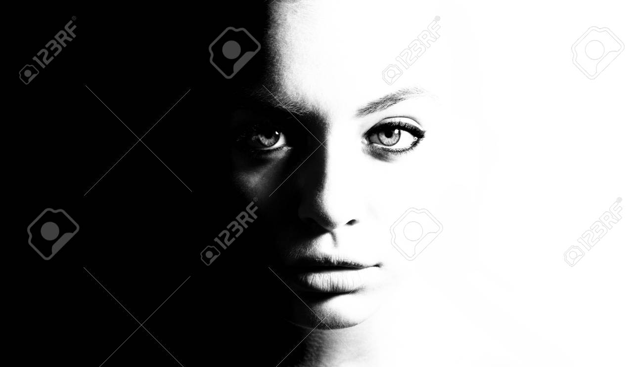 High contrast black and white portrait of a beautiful girl stock photo 91240647