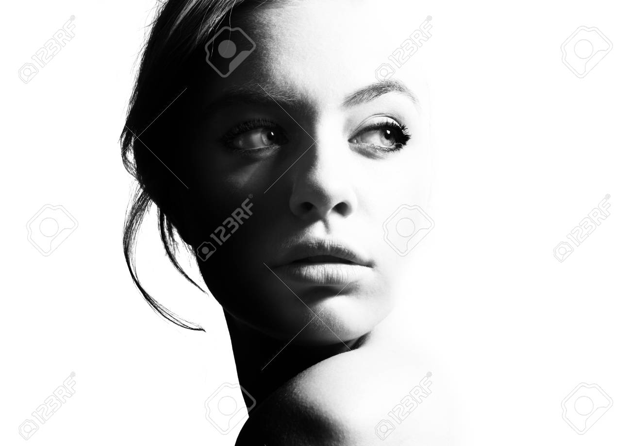 High contrast black and white portrait of a beautiful girl stock photo 91240648