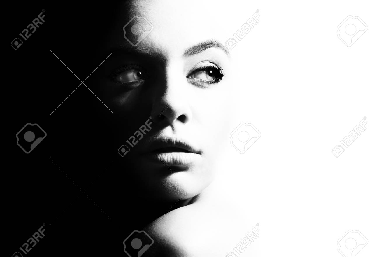 High contrast black and white portrait of a beautiful girl stock photo 91240649