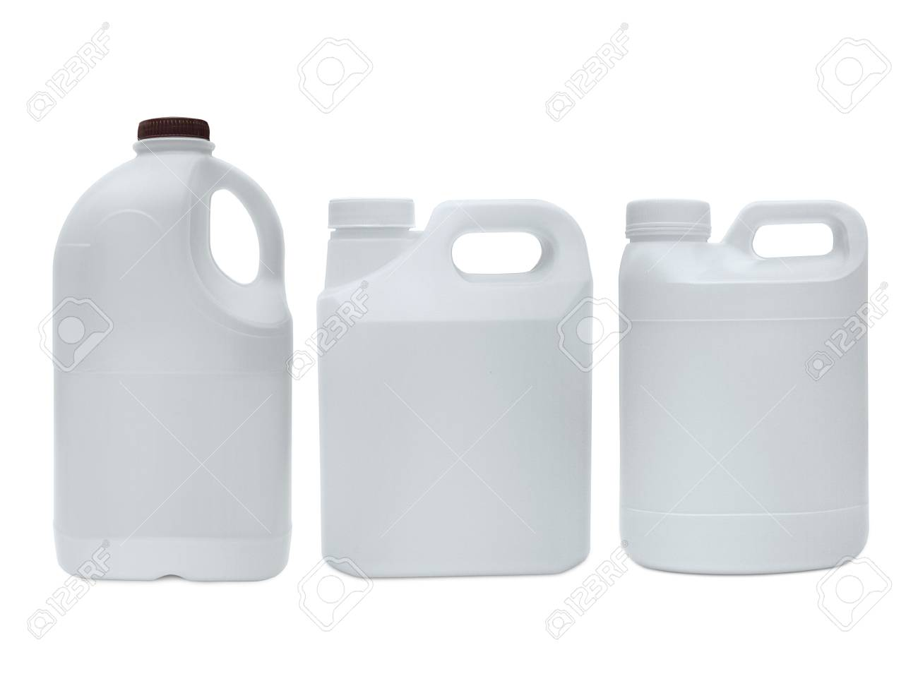 White Plastic Jerry Can Is Isolated On A White Background Stock Photo,  Picture And Royalty Free Image. Image 101982357.