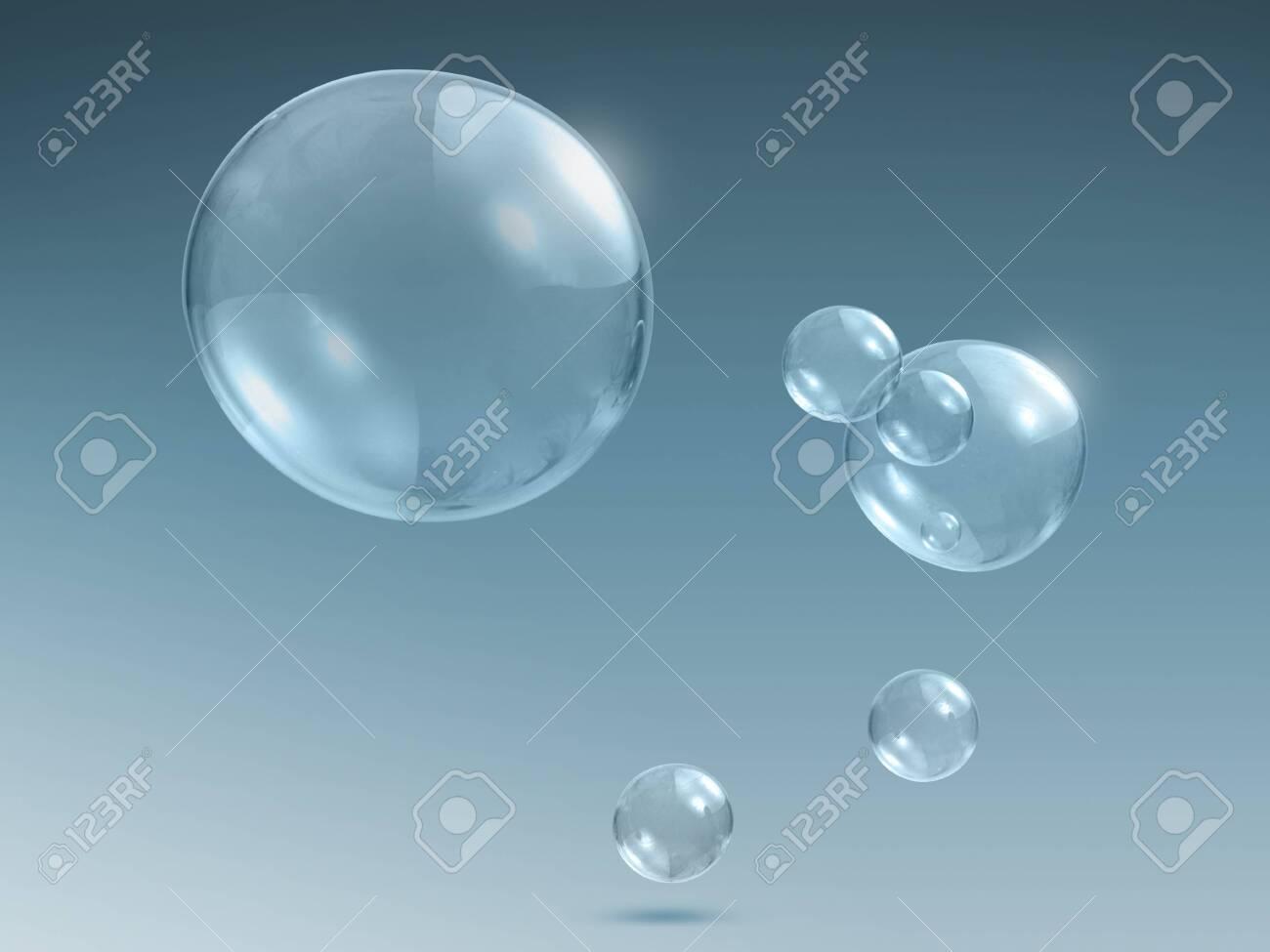 Transparent soap or water bubbles - 128563486