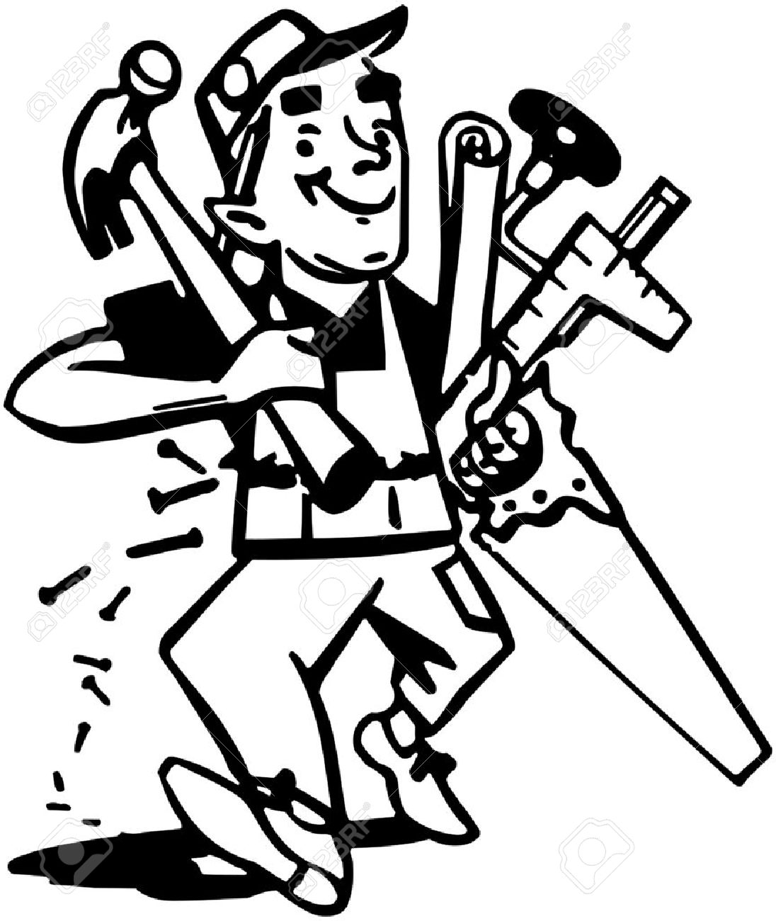 Related Keywords & Suggestions for Carpenter Clip Art Black And White