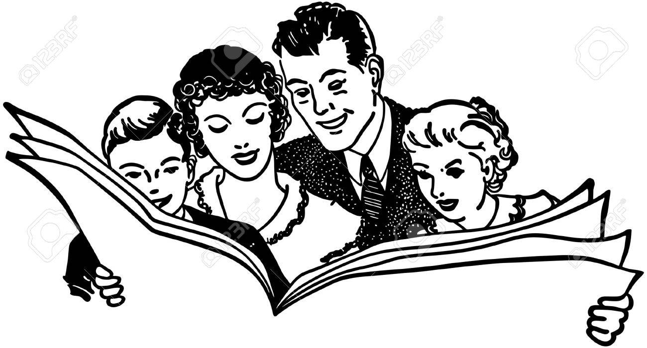family reading newspaper royalty free cliparts, vectors, and stock