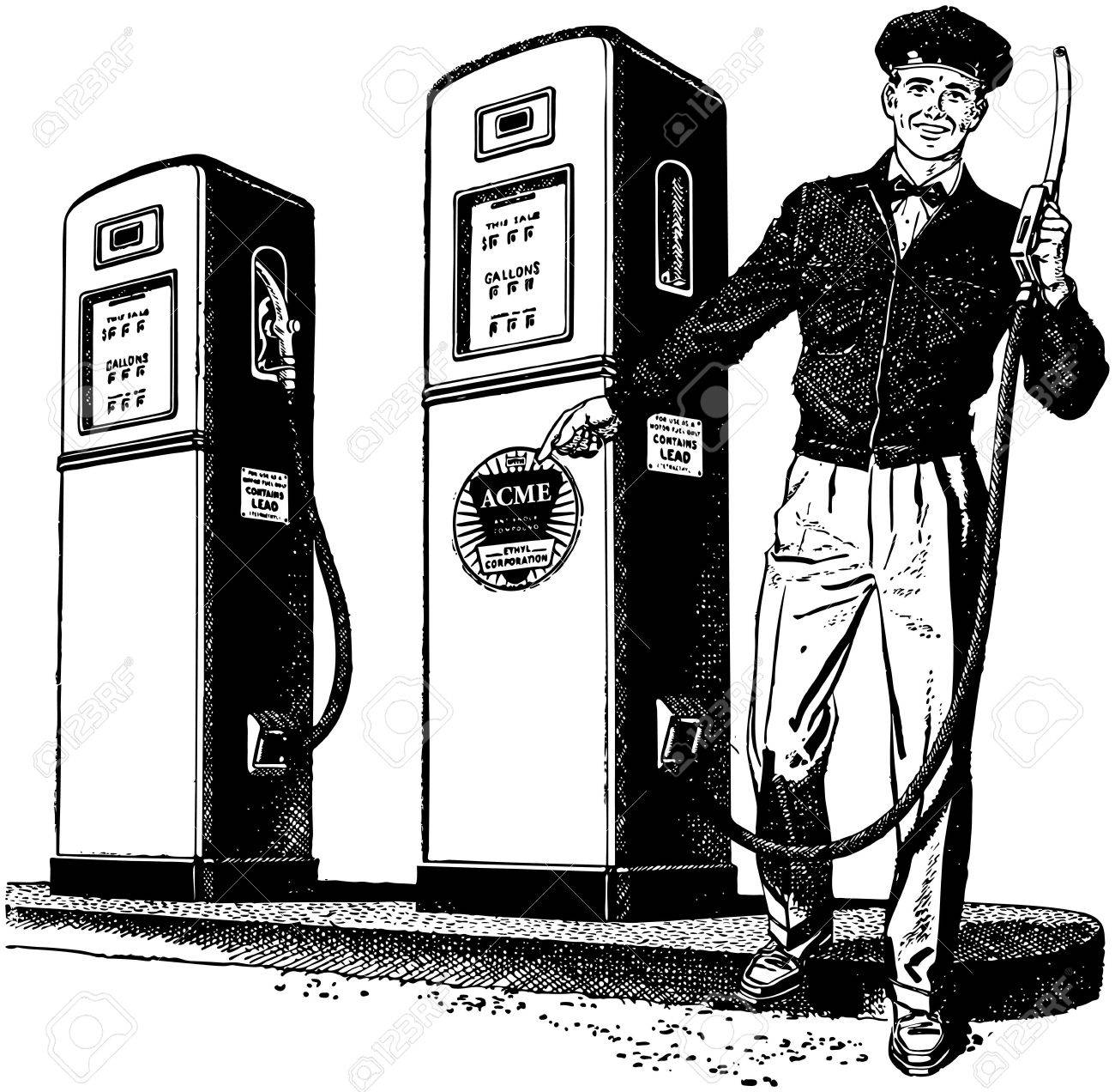 gas station attendant 2 stock vector 28337437