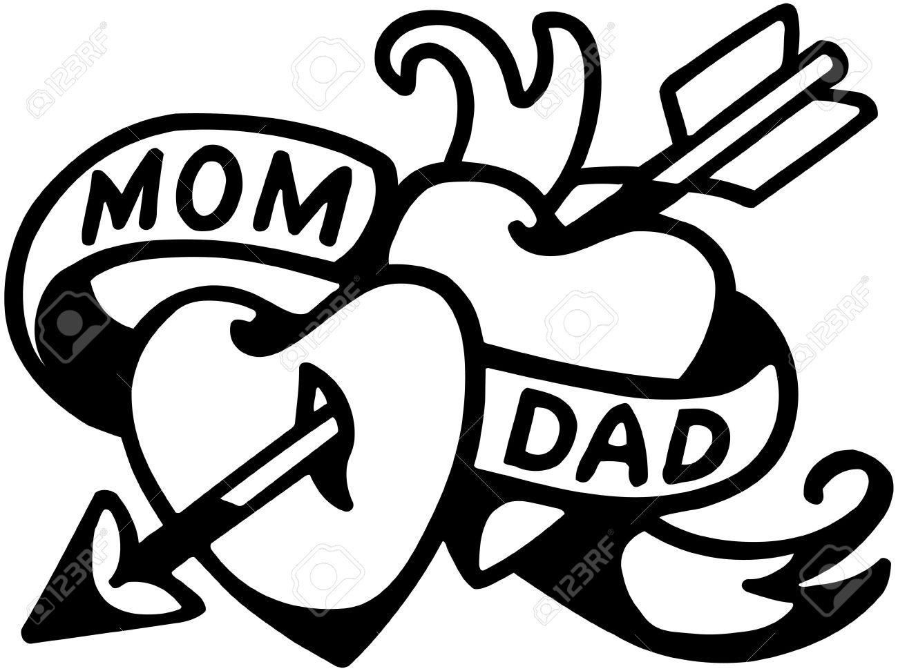 Mamá Y Papá De Tatuajes Ilustraciones Vectoriales Clip Art