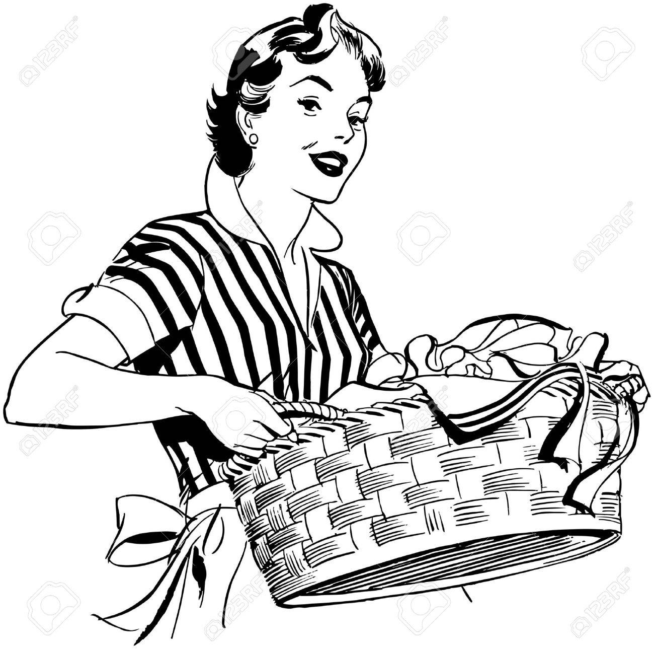 Lady With Laundry Basket Standard Bild
