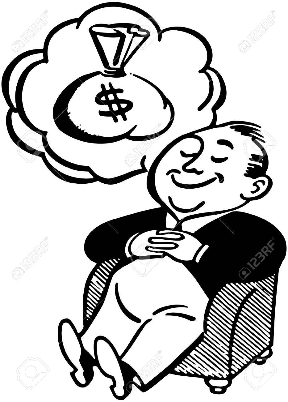 Man Dreaming Of Money Stock Vector