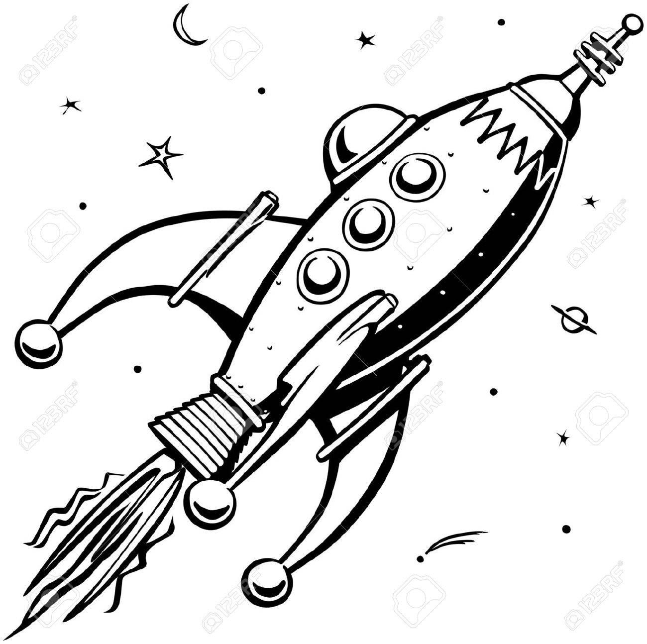 Retro Rocketship - 28344696
