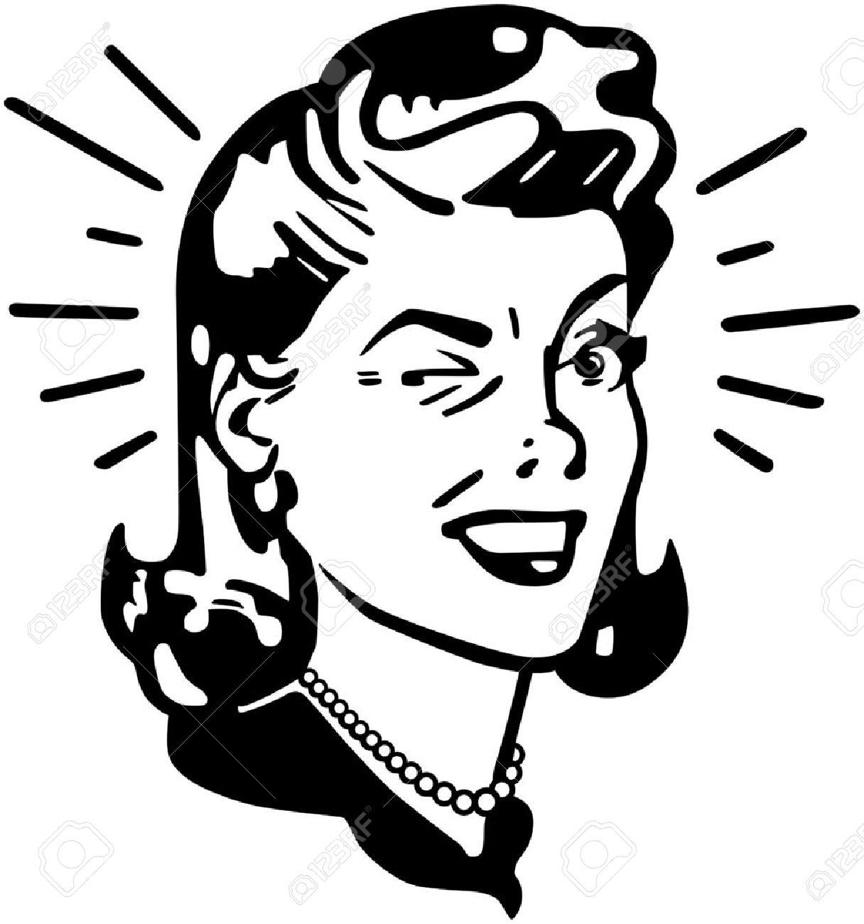 retro woman winking royalty free cliparts vectors and stock rh 123rf com retro clip art free retro clip art cd