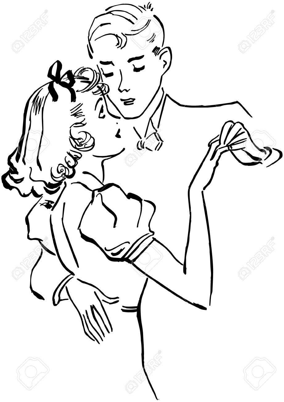 Teen Couple Slow Dancing Stock Vector - 28346131