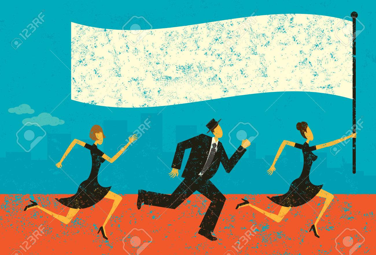 Business Leader, Business people following their leader carrying a flag. The people and background are on separately labeled layers. - 36929281
